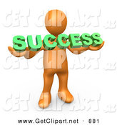 3d Clip Art of a Orange Person Holding a Green Success Sign on White by 3poD