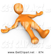 3d Clip Art of a Orange Person Lying on the Ground While Opposing Something on White by 3poD