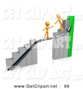 3d Clip Art of a Orange Person Standing on an Ascending Silver and Green Bar Graph Chart, Reaching Back to Assist Another Person up to the Top by 3poD