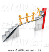3d Clip Art of a Orange Person Standing on an Ascending Silver and Red Bar Graph Chart, Reaching Back to Assist Others up to the Top by 3poD