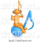3d Clip Art of a Orange Person Wearing Headphones and Listening to Music While Bouncing on a Blue Music Note by 3poD