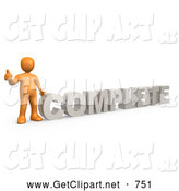 3d Clip Art of a Orange Signaling the Thumbs up and Standing Beside the Letters Word COMPLETE by 3poD