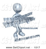 3d Clip Art of a Overwhelmed Dependable Chrome Person Carrying a Heavy and Large Load of Responsiblities by 3poD
