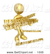 3d Clip Art of a Overwhelmed Dependable Golden Person Carrying a Heavy and Large Load of Responsiblities by 3poD