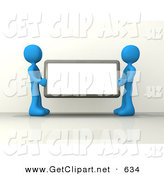 3d Clip Art of a Pair of Blue Figures Holding up a Blank Sign Ready for an Advertisment by 3poD