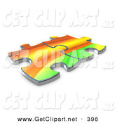 3d Clip Art of a Pair of Colorful Puzzle Pieces Connected over a White Background, Symbolizing Interlinking for Seo Website Marketing, and Teamwork by 3poD
