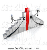 3d Clip Art of a Pair of Competitive Businessmen Racing up Different Sides of a Chrome and Red Bar Graph Chart by 3poD