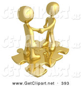 April 19th, 2013: 3d Clip Art of a Pair of Gold People Shaking Hands While Standing on Connected Gold Puzzle Pieces, Symbolizing Teamwork, Deals, and Link Exchanges for Seo Website Marketing by 3poD
