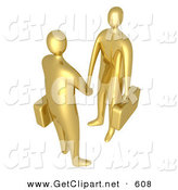 3d Clip Art of a Pair of Golden Businessmen with Briefcases Shaking Hands upon Agreement of a Business Deal by 3poD