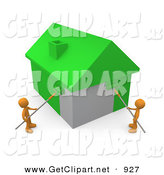 3d Clip Art of a Pair of Orange Men Using Roller Brushes to Paint a Home Green, Symbolizing Upgrading a Home to Be More Energy Efficient by 3poD