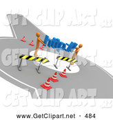July 12nd, 2013: 3d Clip Art of a Pair of Orange People Carrying Http:// Through a Construction Zone, Symbolizing a Redirect or Detour by 3poD