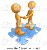 May 2nd, 2013: 3d Clip Art of a Pair of Orange People Shaking Hands While Standing on Connected Blue Puzzle Pieces, Symbolizing Teamwork, Deals, and Link Exchanges for Seo Website Marketing on White by 3poD