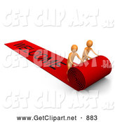 3d Clip Art of a Pair of Orange People Unrolling a Large and Luxurious Red Carpet for Someone Expecting the Vip Treatment by 3poD