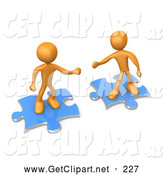 3d Clip Art of a Pair of Two Orange People on Blue Puzzle Pieces, Reaching out for Eachother to Connect, Symbolizing a Connection by 3poD