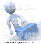 3d Clip Art of a Pale Blue Man Putting Their Voting Envelope in a Ballot Box During a Presidential Election by 3poD
