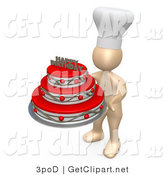 "3d Clip Art of a Pastry Chef Person Wearing a White Chefs Hat and Holding a Red and Silver Three Tiered Birthday Cake with a ""Happy Birthday"" Decoration on Top by 3poD"