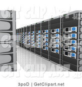 3d Clip Art of a Path Between Walls of Black Computer Server Towers by 3poD