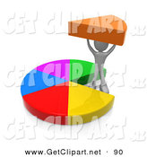 3d Clip Art of a Person Proudly Holding up Their Share of a Pie Chart by 3poD
