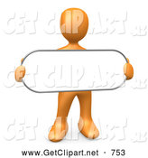 3d Clip Art of a Plain Orange Person Holding a Blank White Oval Sign by 3poD