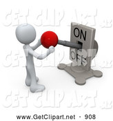 July 3rd, 2013: 3d Clip Art of a Pondering Man Watching a Switch Plate and Holding the Red Knob, Preparing to Turn It off by 3poD