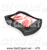 3d Clip Art of a Pretty Black Handheld Organizer with a Red Screen Saver by 3poD