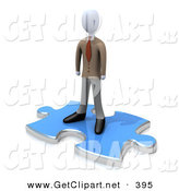 3d Clip Art of a Professional Business Person Standing on Top of a Blue Puzzle Piece, Symbolizing the Missing Piece to a Puzzle, Someone Coming in to Solve Problems, Etc by 3poD