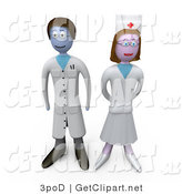 3d Clip Art of a Proud Female Nurse Standing Beside a Male Doctor in a Hospital by 3poD