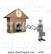 3d Clip Art of a Punctual White Businesman in a Suit, Holding a Briefcase and Sticking out from an Arm of a Cuckoo Clock upon the Hour of 9am, Symbolising the Start of a New Work Day on White by 3poD