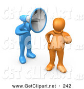 3d Clip Art of a Quiet Ignorant Orange Person in Thought, Chosing Not to Believe or Listen to What the Blue Megaphone Headed Person Is Yelling by 3poD