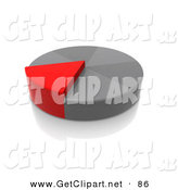 3d Clip Art of a Red Slice of a Grey Pie Chart Growing Taller Than the Other Pieces by 3poD