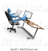 3d Clip Art of a Relaxed Blue Business Person Leaning Back in a Chair in Front of a Computer in an Office, His Feet Crossed and up on the Desk While Comparing Graphs Showing an Increase in Sales, on Paper and on the Computer by 3poD