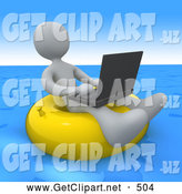 August 17th, 2013: 3d Clip Art of a Relaxing White Person, a Workaholic, Floating on a Yellow Inner Tube in the Ocean While Typing on a Laptop Computer by 3poD