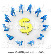 3d Clip Art of a Ring of Blue Businessmen Carrying Briefcases Standing in a Circle Around a Dollar Sign by 3poD