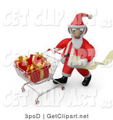 3d Clip Art of a Santa Claus Man Reading a Very Long List and Purchasing Christmas Presents While Pushing a Shopping Cart in a Store by 3poD