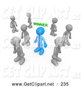 3d Clip Art of a Selected Blue Person with the Word Winner over Their Head, Surrounded by Sad Losers by 3poD
