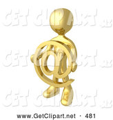 3d Clip Art of a Shiny Gold Person Holding a Golden at Symbol in Front of Him by 3poD