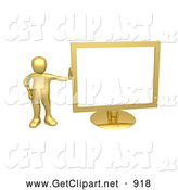 3d Clip Art of a Shiny Golden Person Leaning Against a Gold Flat LCD Computer Screen Monitor by 3poD