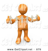 3d Clip Art of a Shiny Orange Person, Such As a Boss or Manager, Holding a Strand of Paper People, Symbolizing Control or Teamwork by 3poD