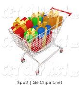 3d Clip Art of a Shopping Cart Full of Wrapped Christmas Gifts in a Store by 3poD