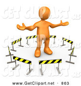 3d Clip Art of a Shrugging Orange Person Stuck in the Middle of a Circle of Caution Signs by 3poD
