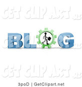 3d Clip Art of a Silhouetted Businessman with a Briefcase and Walking in a Cog or Gear in Place of the Letter O in the Word Blog by 3poD