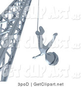 3d Clip Art of a Silver Bungee Jumper in a Helmet, Falling down While Bungee Jumping from a Crane by 3poD