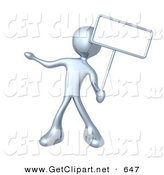 3d Clip Art of a Silver Man Standing and Holding up a Blank Sign for an Advertisement by 3poD