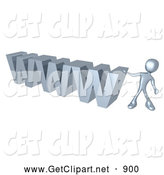 3d Clip Art of a Silver Person Leaning Against a Chrome WWW Sign on White by 3poD