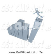 3d Clip Art of a Silver Person Slipping and About to Fall While Standing on Top of an Ascending Bar Graph Chart That Is Collapsing, Symbolizing Bankruptcy and Failure by 3poD