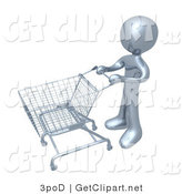 3d Clip Art of a Silver Person Standing with an Empty Shopping Cart in a Store by 3poD