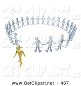 3d Clip Art of a Single Gold Person Walking Away from a Circle of Silver People, Symbolizing Different Beliefs, Quitting or Being Fired by 3poD