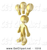 3d Clip Art of a Smart and Creative Golden Man with 3 Lightbulbs Symbolizing Ideas Above His Head by 3poD