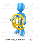 3d Clip Art of a Smart and Informed Blue Person Holding a Yellow at Symbol in Front of Him by 3poD