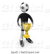 3d Clip Art of a Soccer Player Man with a Soccer Ball Head Holding a Golden Trophy Cup by 3poD